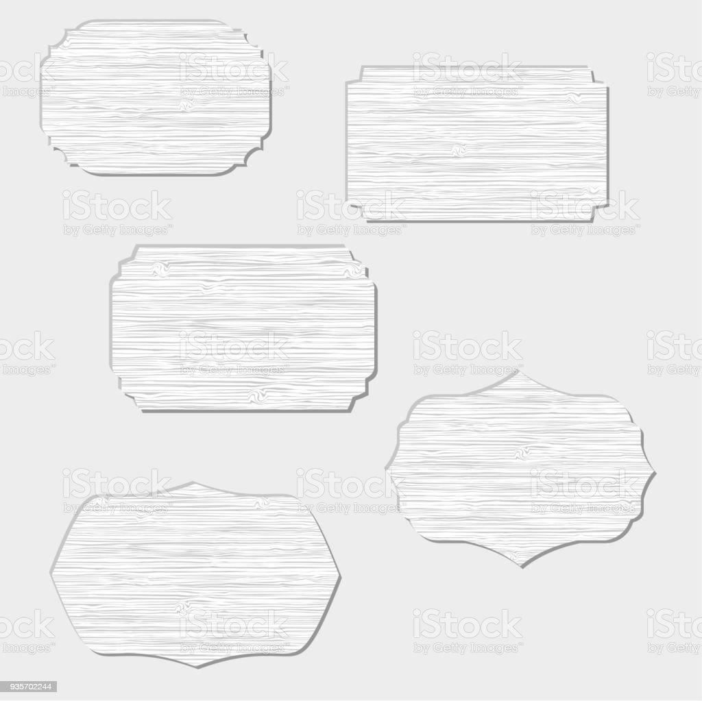 5 図形木製看板のセット からっぽのベクターアート素材や画像を多数ご