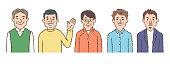 istock Set of 5 smiling men 1300620432