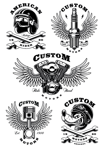 Set of 5 vintage biker illustrations on white background_1