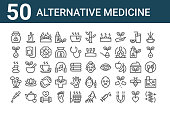 set of 50 alternative medicine icons. outline thin line icons such as massage, pipette, fungi, hot stones, herbs, candle, skincare