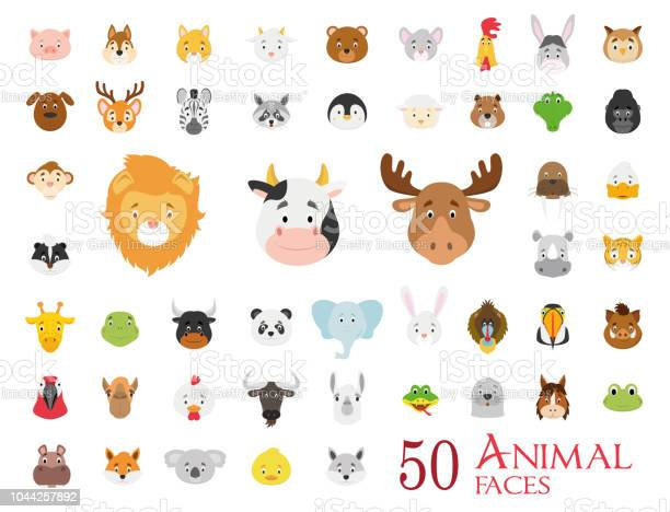 Set of 50 animal faces in cartoon style vector id1044257892?b=1&k=6&m=1044257892&s=612x612&h=oappn0w  yr7feev8uuypyq5mcpc a3yprmnjiolaxc=