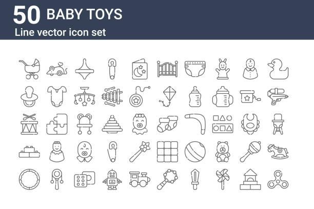 stockillustraties, clipart, cartoons en iconen met reeks van 50 pictogrammen van het babyspeelgoed. overzicht dunne lijnpictogrammen zoals spinner, hoelahoep, lego, trommel, tepel, muis, sok - lego