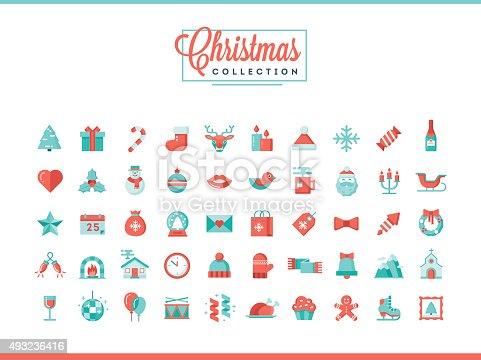 Set of 50 beautiful Christmas icons, flat design style, vector illustration