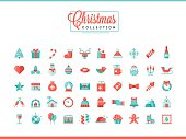 Set of 50 beautiful Christmas icons, flat design style, vector illustration