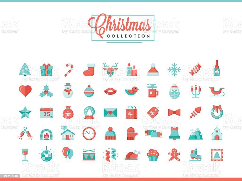 Set of 50 beautiful Christmas icons, flat design style vector art illustration