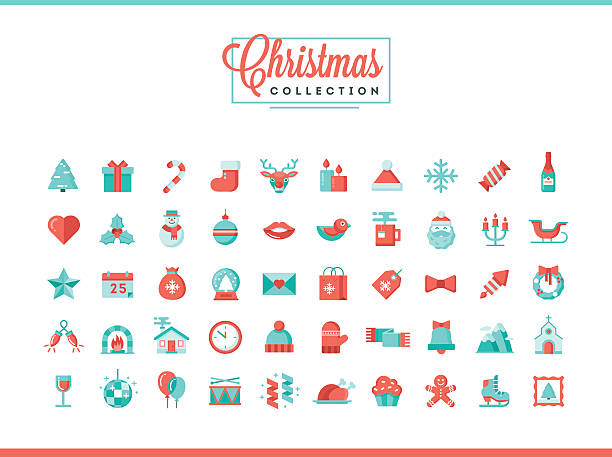 Set of 50 beautiful Christmas icons, flat design style Set of 50 beautiful Christmas icons, flat design style, vector illustration christmas dinner stock illustrations