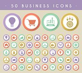 Set of 50 Business Icons on Colored Circular Buttons.