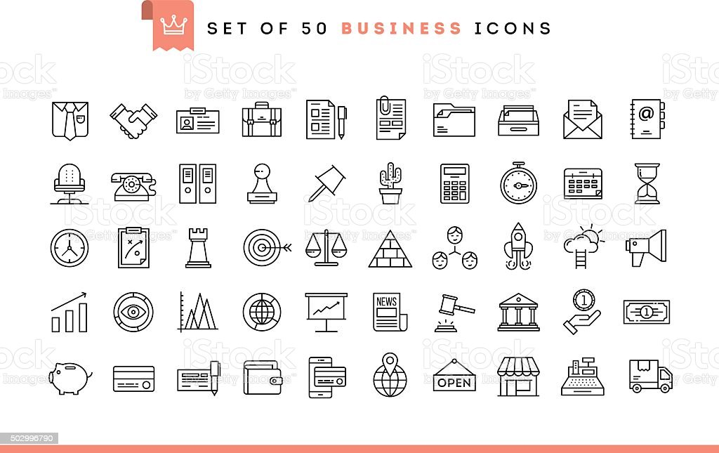 Set of 50 business icons, thin line style royalty-free stock vector art