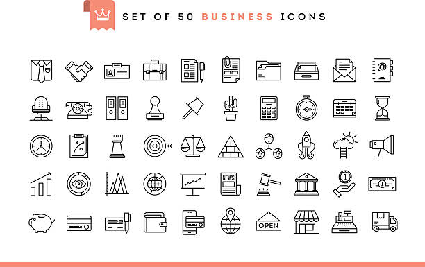 set of 50 business icons, thin line style - wealth stock illustrations, clip art, cartoons, & icons