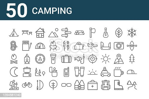 set of 50 camping icons. outline thin line icons such as river, hiking, crescent, bonfire, rope, table, fishing, wood, compass, binoculars