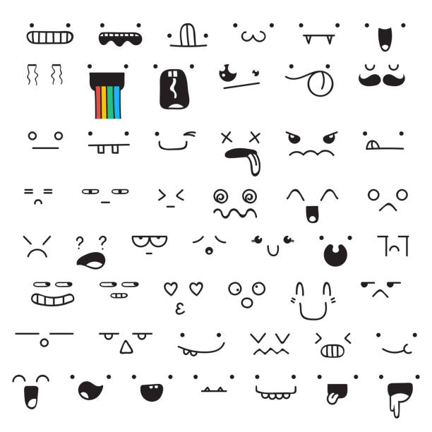set of 50 different pieces doddle emotions to create characters - jealous emoji stock illustrations, clip art, cartoons, & icons