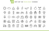 Set of 50 ecology icons, thin line style