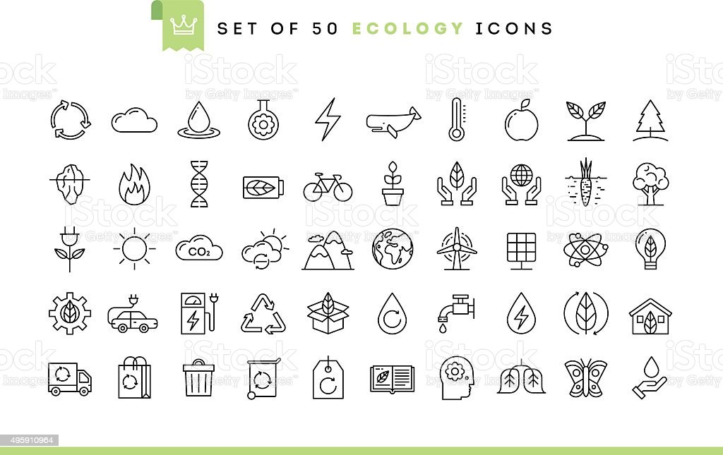 Set of 50 ecology icons, thin line style vector art illustration