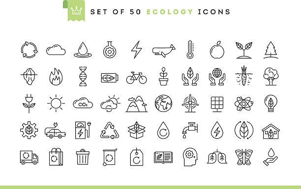 Set of 50 ecology icons, thin line style Set of 50 ecology icons, thin line style, vector illustration solar panels illustrations stock illustrations