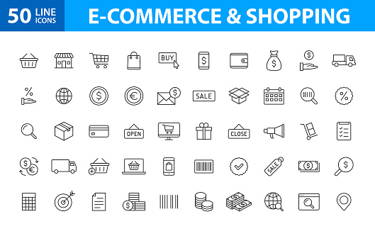 Set of 50 E-commerce and shopping web icons in line style. Mobile Shop, Digital marketing, Bank Card, Gifts. Vector illustration.
