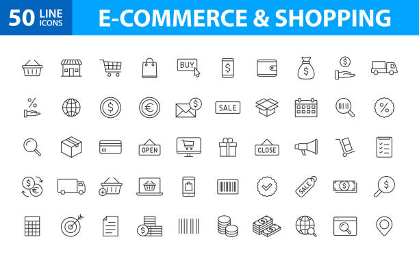 Set of 50 E-commerce and shopping web icons in line style. Mobile Shop, Digital marketing, Bank Card, Gifts. Vector illustration. Set of 50 E-commerce and shopping web icons in line style. Mobile Shop, Digital marketing, Bank Card, Gifts. Vector illustration e commerce stock illustrations
