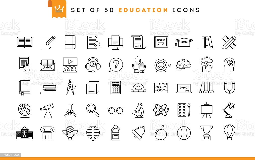 Set of 50 education icons, thin line style vector art illustration