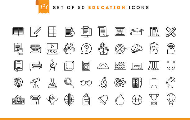 set of 50 education icons, thin line style - science class stock illustrations, clip art, cartoons, & icons