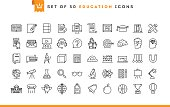 Set of 50 education icons, thin line style