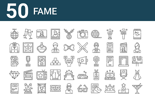 set of 50 fame icons. outline thin line icons such as cocktail, autograph, diamond, smartphone, suit, cheers, megaphone