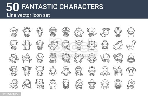 set of 50 fantastic characters icons. outline thin line icons such as cyclops, centaur, krampus, dragon, frankenstein, faun, pegasus