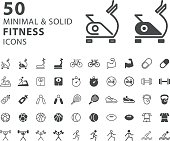 Set of 50 Fitness Minimal and Solid Icons