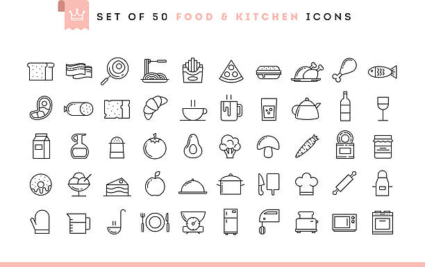 Set of 50 food and kitchen icons, thin line style Set of 50 food and kitchen icons, thin line style, vector illustration domestic kitchen stock illustrations