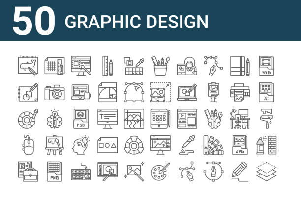 set of 50 graphic design icons. outline thin line icons such as layer, portfolio, mouse, color picker, sketchup, grid lines, ipad tablet - ipad stock illustrations