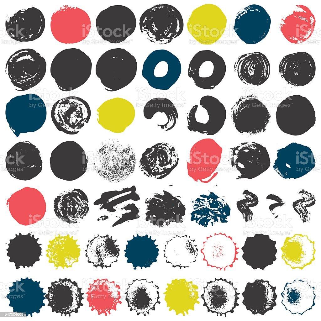 Set of 50 grungy artistic circles vector art illustration