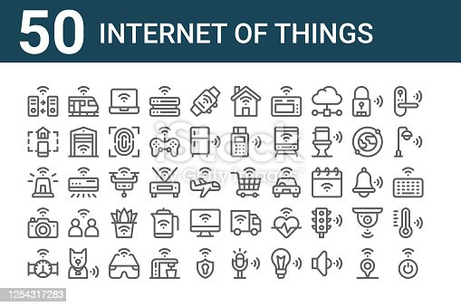 set of 50 internet of things icons. outline thin line icons such as turn on, smart meter, camera, siren, home control, high speed train, shopping cart