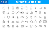 Set of 50 Medical and Health web icons in line style. Medicine and Health Care, RX, infographic. Vector illustration