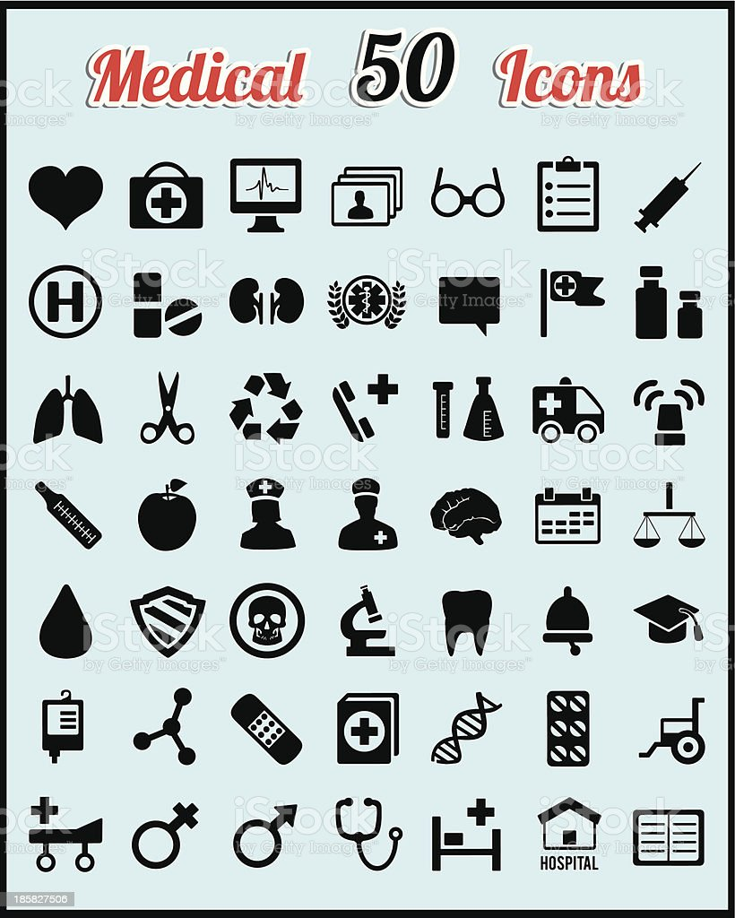 Set of 50 medical icons for design royalty-free set of 50 medical icons for design stock vector art & more images of accidents and disasters