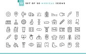 Set of 50 medical icons, thin line style