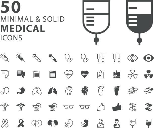 stockillustraties, clipart, cartoons en iconen met set van 50 pictogrammen voor medische minimale en solide - infuusoplossing