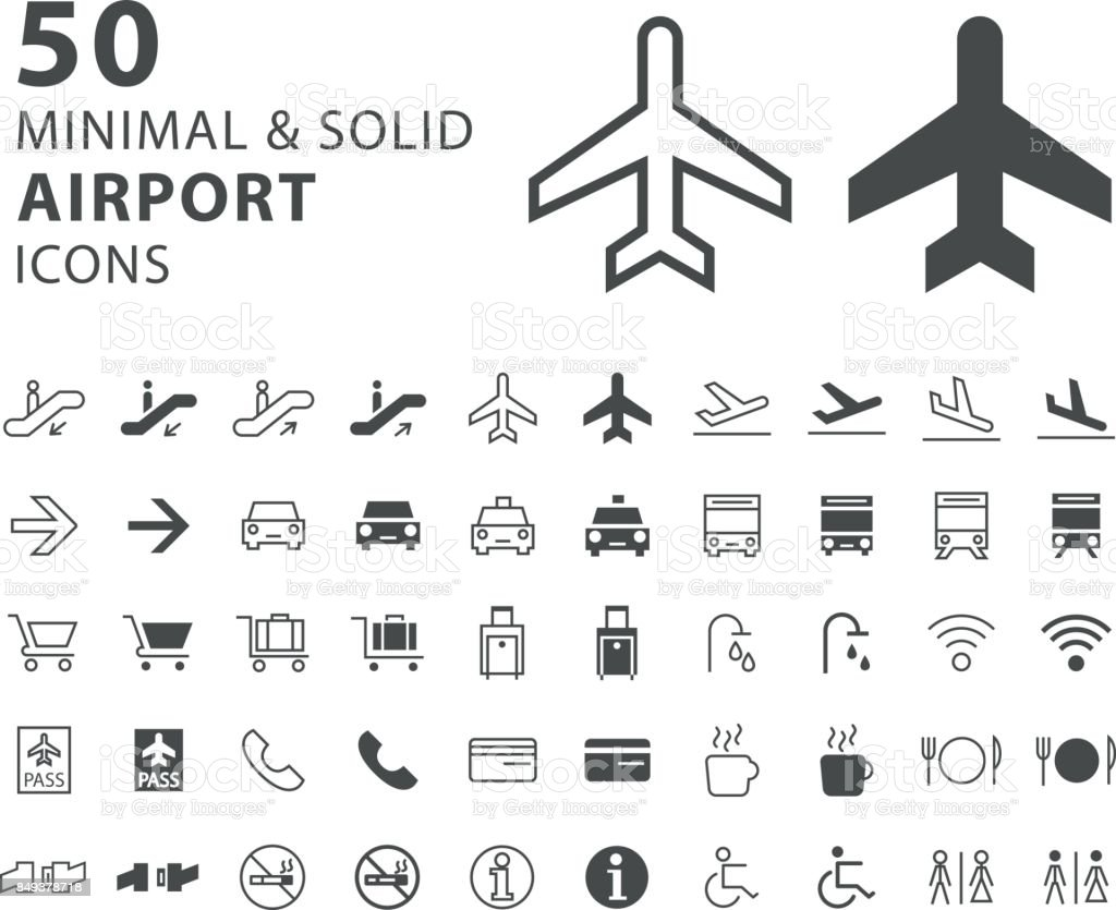 Set of 50 Minimal and Solid Airport Icons on White Background vector art illustration