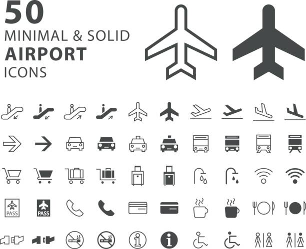 set of 50 minimal and solid airport icons on white background - airport stock illustrations
