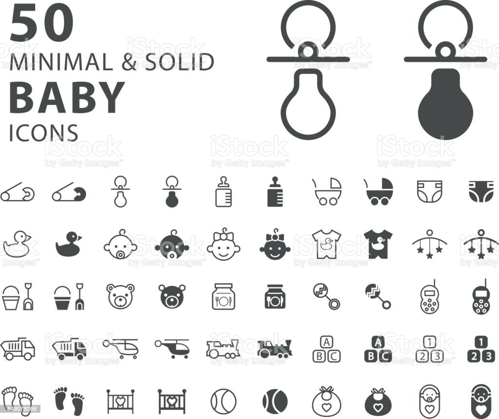 Set of 50 Minimal and Solid Baby Icons on White Background . Vector Isolated Elements vector art illustration
