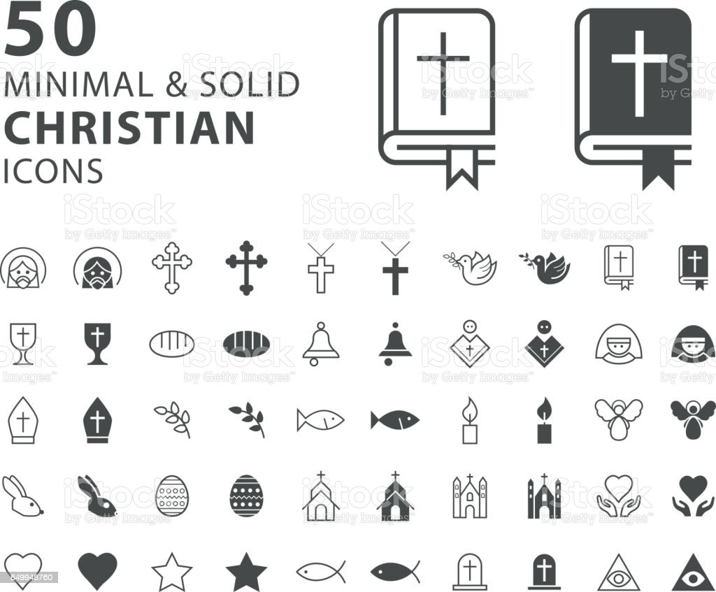 Set Of 50 Minimal And Solid Christian Icons On White