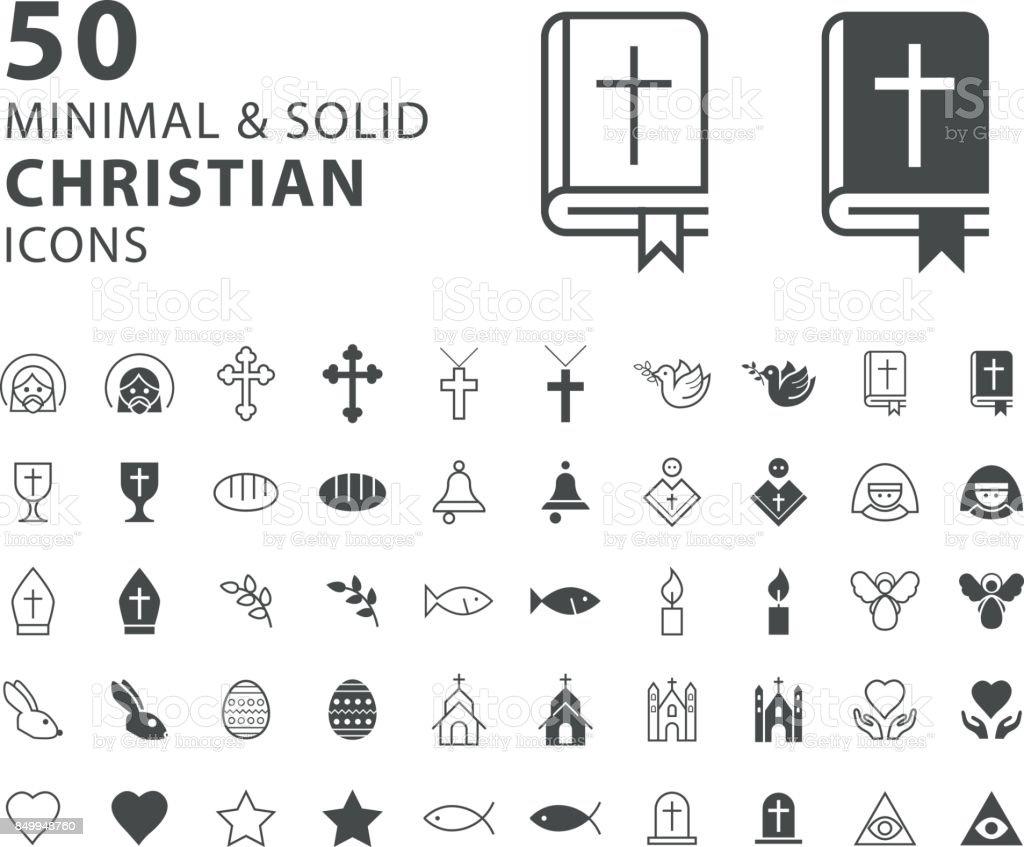Satz von 50 Minimal und solide christliche Symbole auf weißem Hintergrund – Vektorgrafik