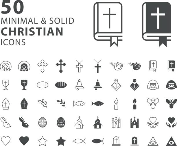 ilustrações de stock, clip art, desenhos animados e ícones de set of 50 minimal and solid christian icons on white background - evangelho
