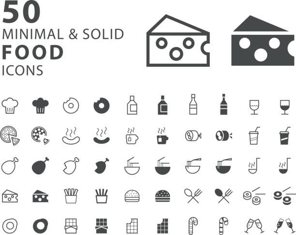 set of 50 minimal and solid food icons on white background - burger and chicken stock illustrations