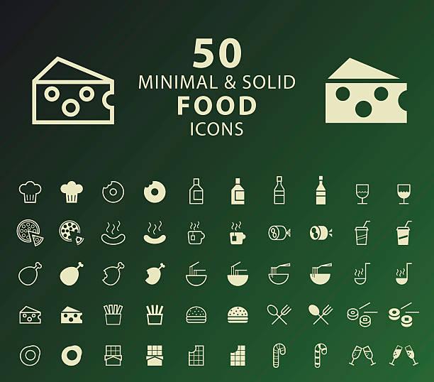 illustrazioni stock, clip art, cartoni animati e icone di tendenza di set of 50 minimal and solid food icons. - mortadella