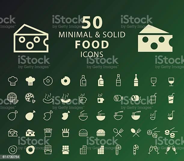 Set Of 50 Minimal And Solid Food Icons - Immagini vettoriali stock e altre immagini di Berretto