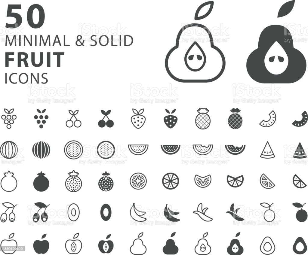 Set Of 50 Minimal And Solid Fruit Icons On White Background