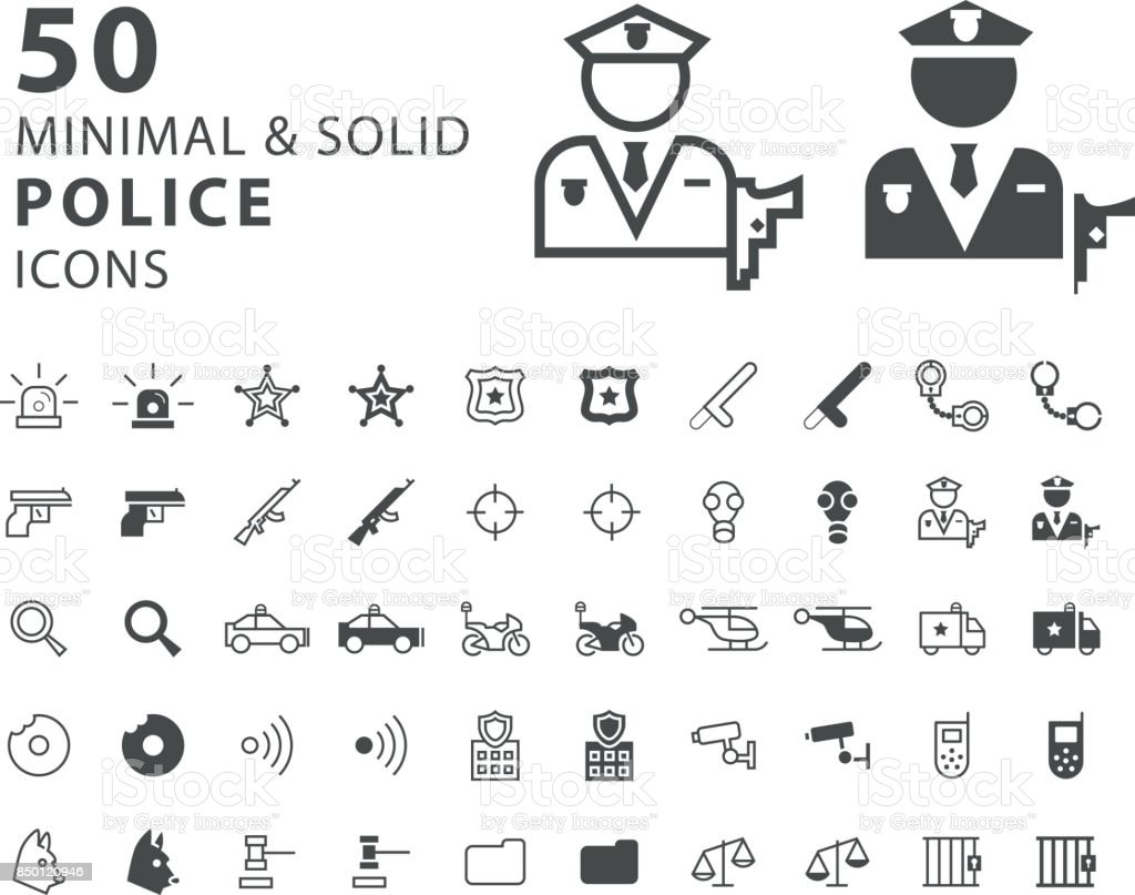 Set of 50 Minimal and Solid Police Icons on White Background vector art illustration