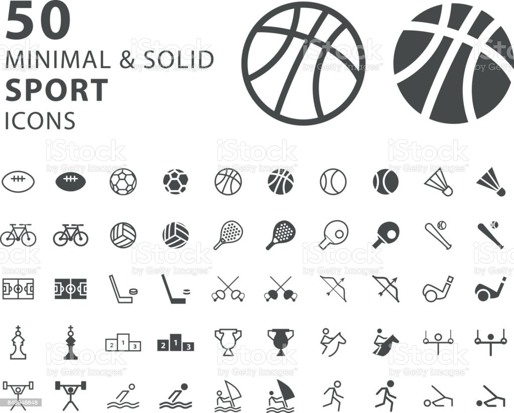 Set of 50 Minimal and Solid Sport Icons on White Background vector art illustration