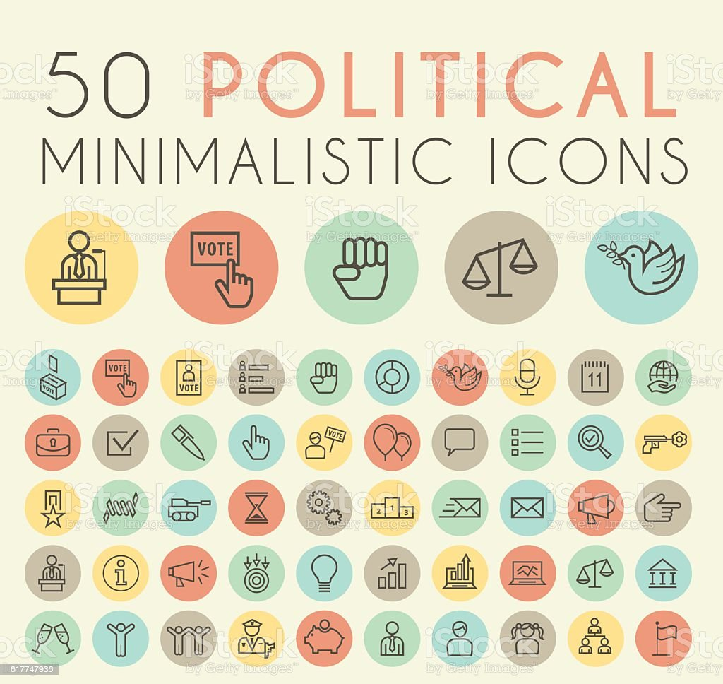 Set of 50 Minimal Simple Thin Line Political Icons. vector art illustration