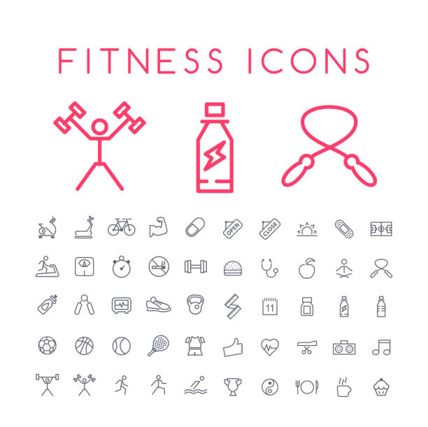 Set of 50 Minimal Thin Line Fitness Icons on White Background . Isolated Vector Elements Isolated Vector Elements exercise machine stock illustrations