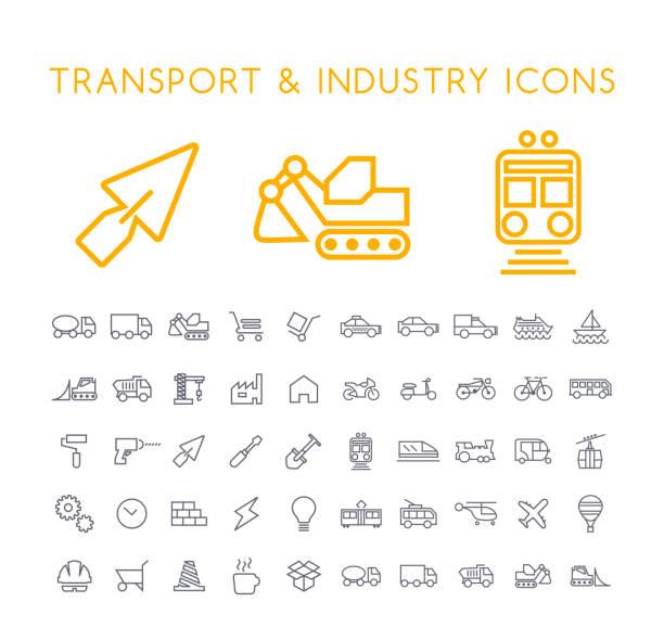 Satz von 50 Minimal dünne Linie Industrie und Transport Symbole auf weißem Hintergrund. Isolierte Vektorelemente – Vektorgrafik
