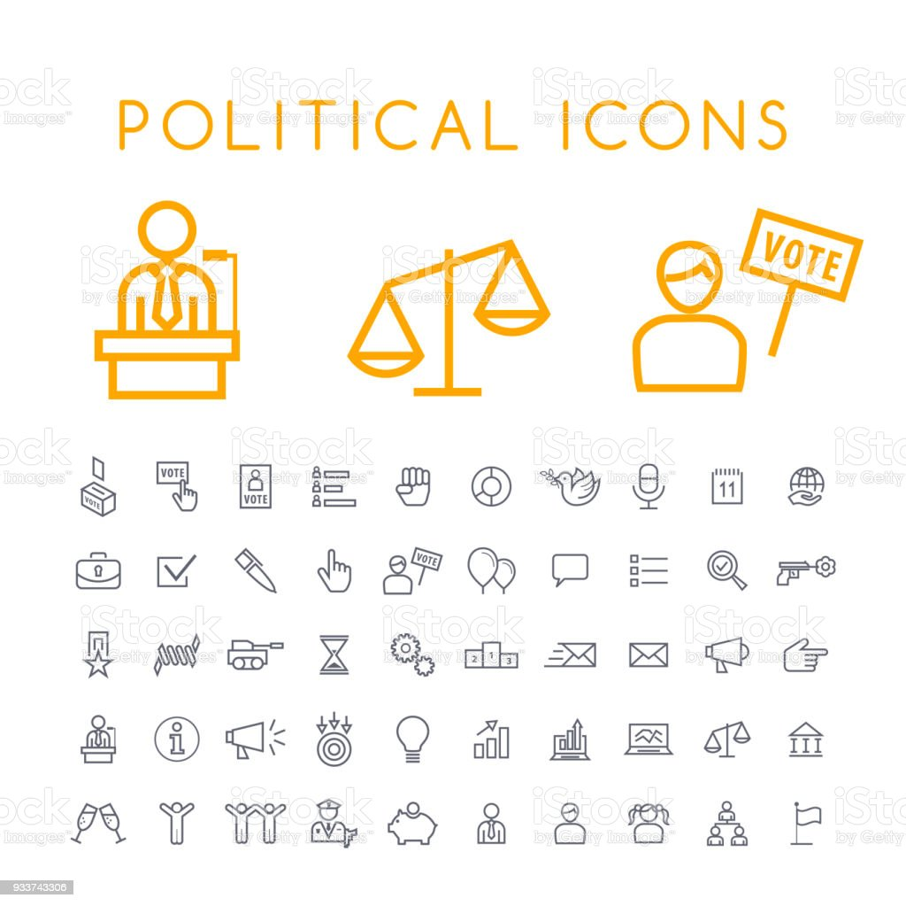 Set of 50 Minimal Thin Line Political Icons on White Background . Isolated Vector Elements vector art illustration